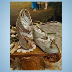 ~~~ Rare Antique Pale Blue Silk Satin Jumeau Bebe Shoes size 8 ~~~