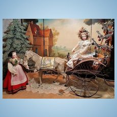 ~~~ Outstanding French Poupee Donkey Carriage / France circa 1880 ~~~