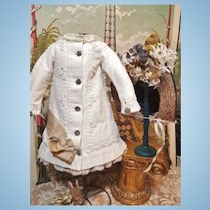 ~~~ Pretty Antique French Pique Coat Bebe Dress with Straw Bonnet ~~~