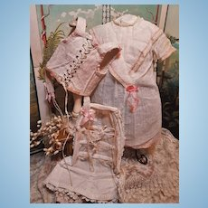 ~~~ Lovely 19th. Century Three Piece Lingerie Set for French Bebe ~~~