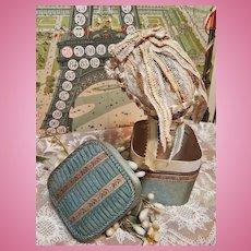 ~~~ Pretty French Poupee Lace Bonnet in Silk Box ~~~