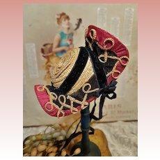 ~~~ Rare all original Small Antique French Poupee Chapeau / Bourbonnaise ~~~