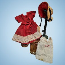 ~~~ Nice size 1 or 2 Simple 3 Piece Antique Bebe Costume ~~~