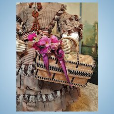 ~~~ Nice Antique Straw Basket for Doll Display ~~~