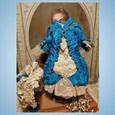 ~~~ Lovely French Silk Bebe Costume with Bonnet ~~~