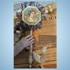 ~~~ Pretty French Poupee Carved Handle Fireplace Fan ~~~