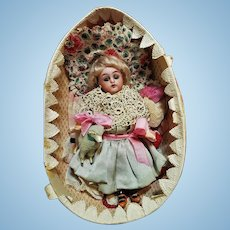~~~ Pretty 19th. Century Easter Presentation Bisque Doll with Trousseau ~~~