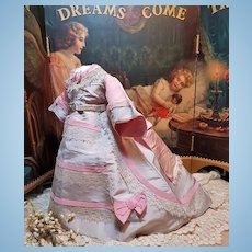 HOLD for S. ~~~  Fashionable Antique Evening Silk Gown for French Poupee ~~~