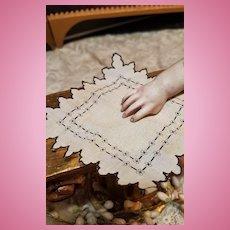 ~~~ Rare Tiny French Poupee Handkerchief for Huret , Rohmer ..... / 1865 ~~~