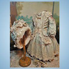 ~~~ Outstanding French Bebe Silk Costume with Bonnet ~~~