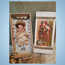 ~~~ Antique French all Bisque Mignonette in Original Dress and Box ~~~