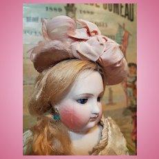 ~~~ Pretty Early French Poupee Silk Velour Bonnet / circa 1860 ~~~