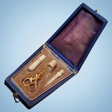 ~~~ Very rare French Miniature Poupee Leather Sewing Necessaire / 1865 ~~~