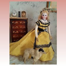 ~~~ Delicate French Bisque Poupee with Superb Evening Gown  ~~~
