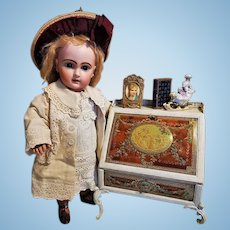 ~~~ Rare French Doll Secretaire with Enamel Painted Romantic Scenes ~~~