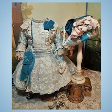 ~~~ Elegant French Bebe Silk Costume with Antique Bonnet ~~~