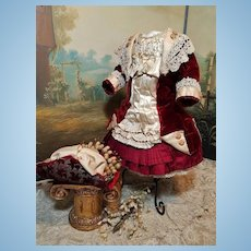 ~~~ Superb French Velvet and Jumeau Red and Cream Silk Costume ~~~