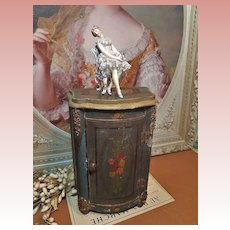 ~~~ Lovely Miniature French 19th. Century Wooden Cabinet for Poupee or Bebe ~~~