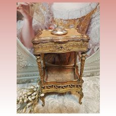 ~~~ Outstanding French Bronze Miniature Boudoir Table for French Poupee ~~~