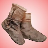 ~~~ Rare Early Poupee Ankle Boots with Socks for Huret or Rohmer / 1860 ~~~
