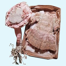 ~~~ Antique Four Piece French Bebe Outfit in Store Box circa 1885 ~~~