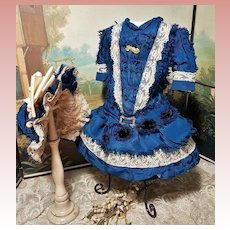 ~~~ Lovely French Blue Silk Costume with Bonnet ~~~