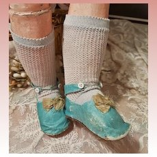 ~~~ Beautiful French Aqua Blue Manufacture Bebe Shoes and Stocking ~~~