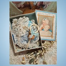 ~~~ Most Beautiful French Doll Bonnet & Rattle in his Box ~~~