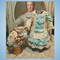 ~~~ Pretty French Wool Pique and Silk Costume with Bonnet ~~~
