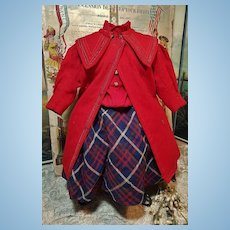~~~ Jumeau Factory original Bebe Jumeau Wool Coat and Dress  .... size 10 Bebe / 1880 ~~~