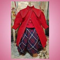 ~~~ Jumeau Factory original Bebe Jumeau Wool Coat and Dress  .... size 10 Bebe / 1880 ~~~