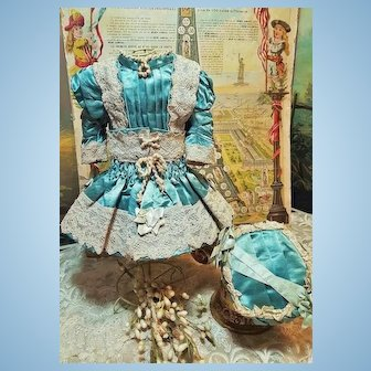 ~~~ Pretty French Blue Silk Satin Bebe Costume with Bonnet ~~~