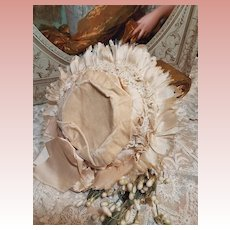 ~~~ Pretty Antique French Silk & Velvet Doll Bonnet / 1885 ~~~