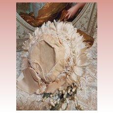 ~~~ Pretty Antique French Silk & Velvet Doll Bonnet / 1885 ~~~