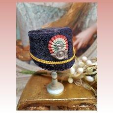 ~~~ Antique 19th. Century French Poupee Velvet Bonnet .... Candy Box ~~~
