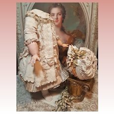 ~~~ Pretty French Bebe Cashmere and Silk Costume with Antique Bonnet ~~~