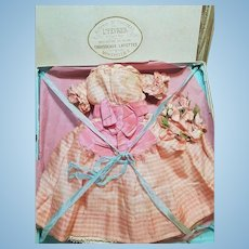 ~~~ Super Antique French Silk Poupee Enfantine Dress with Flowers Circle in Store Box ~~~