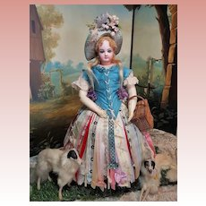 ~~~ Outstanding French Bisque Poupee by Jumeau in Superb Antique Party Costume ~~~