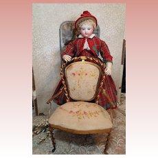 ~~~ Rare Maison Huret French Poupee Salon Chair circa 1865 ~~~