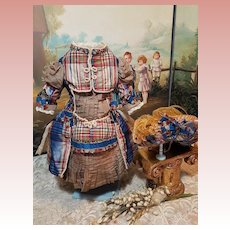 ~~~ Pretty French Silk Bebe Costume with Antique Straw Bonnet ~~~