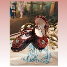 ~~~ Early Antique French Bebe Shoes with Pretty Silk Rosette ~~~