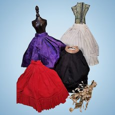 ~~~ Lovely Ensemble of Four French Poupee Skirt´s from 19th. Century Home Made ~~~