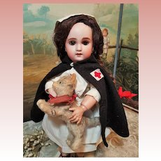 ~~~ Cute French Bisque Bebe S.F.B.J. Girl in Lovely Original Costume ~~~