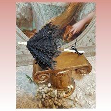 ~~~ French Poupee Fancy Black Silk Parasol / circa 1868 ~~~
