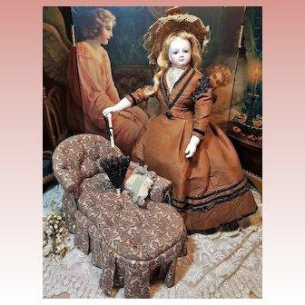 ~~~ Rare French Poupee Miniature Salon Chaise-Longue .... circa 1870 ~~~