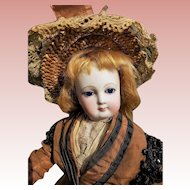 ~~~ Beautiful French Bisque Poupee with Wooden Articulated Body in Original Costume ~~~