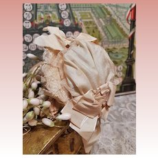 ~~~ Lovely Antique Silk Poupee Bonnet from 19th. Century ~~~