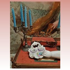 ~~~ Rare French Porcelain De Paris Miniature Inkstand for French Poupee ~~~