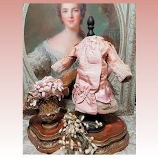 ~~~ Most Beautiful Antique French Silk Gown with Straw Bonnet ~~~