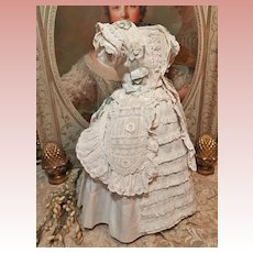 ~~~ French White Waffle- Weave Three Piece Poupee Pique Cotton Gown ~~~